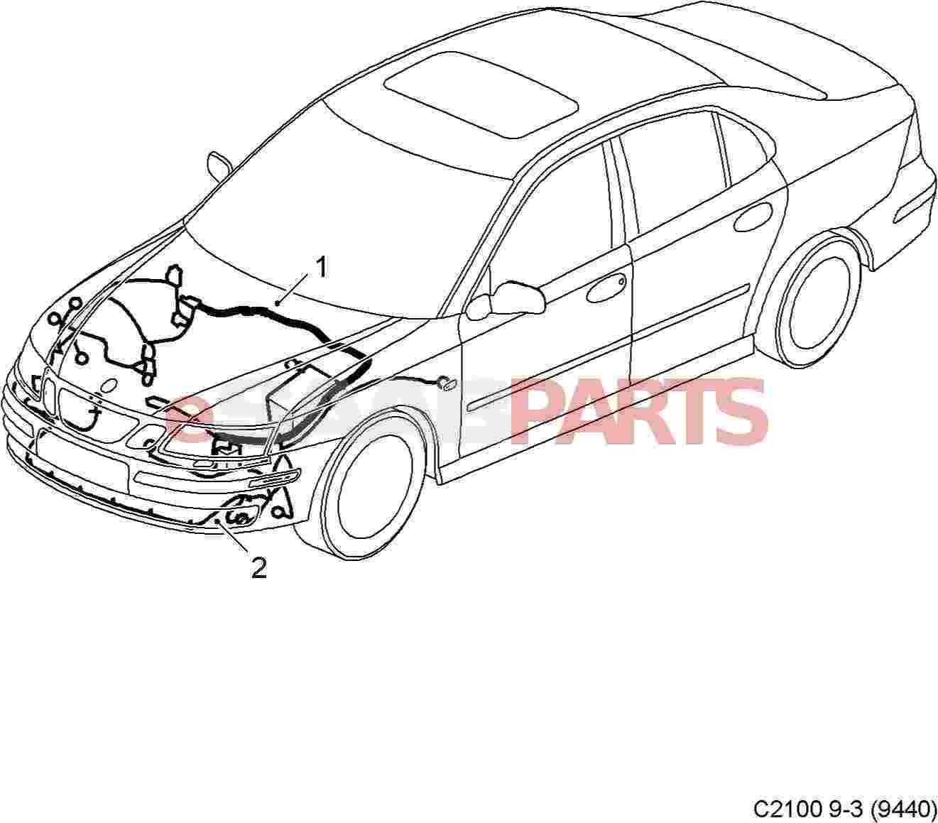 Saab Front Bumper Wiring Harness