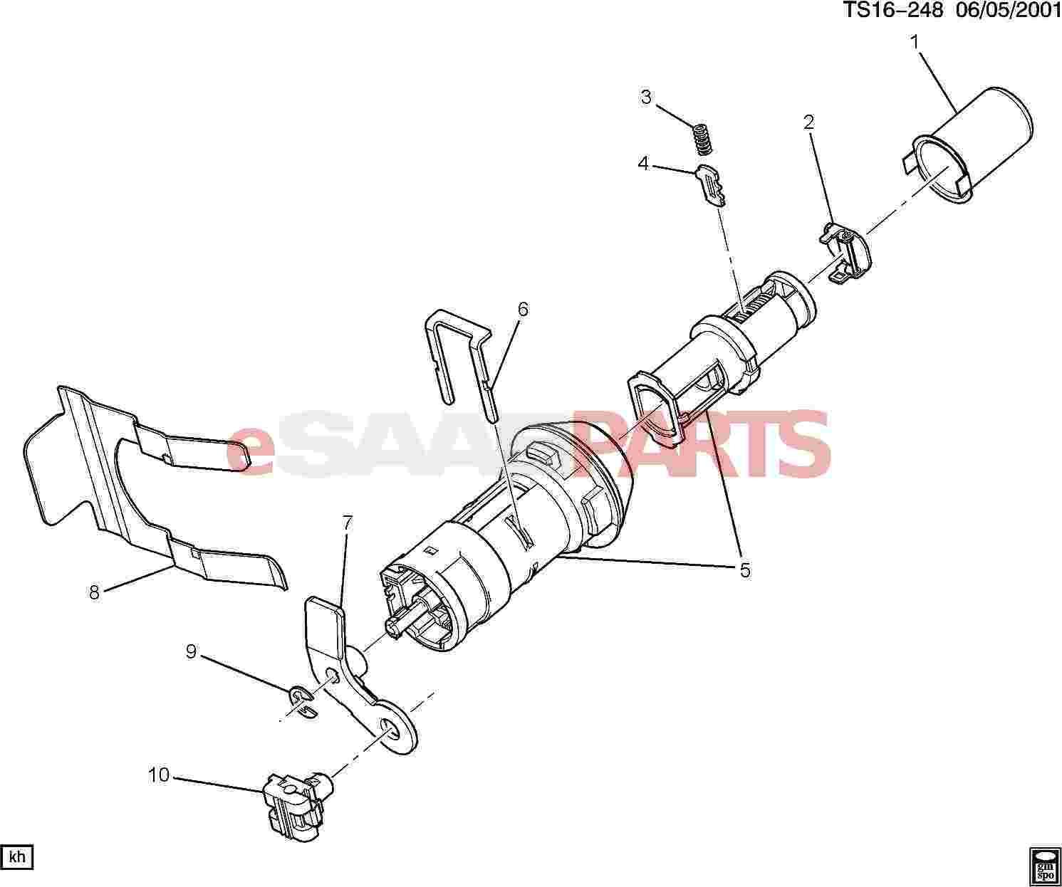 Saab Retainer Lift Gate Lock Cylinder S