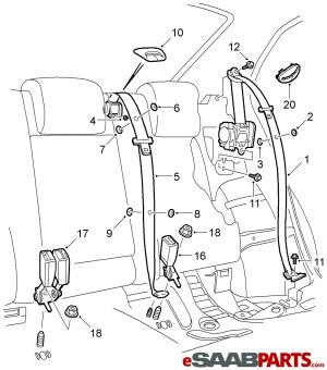 [12800618] SAAB Seat Belt  Genuine Saab Parts from eSaabParts