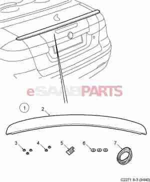 [12848386] SAAB Rear Trunk Spoiler for Saab 93 Aero