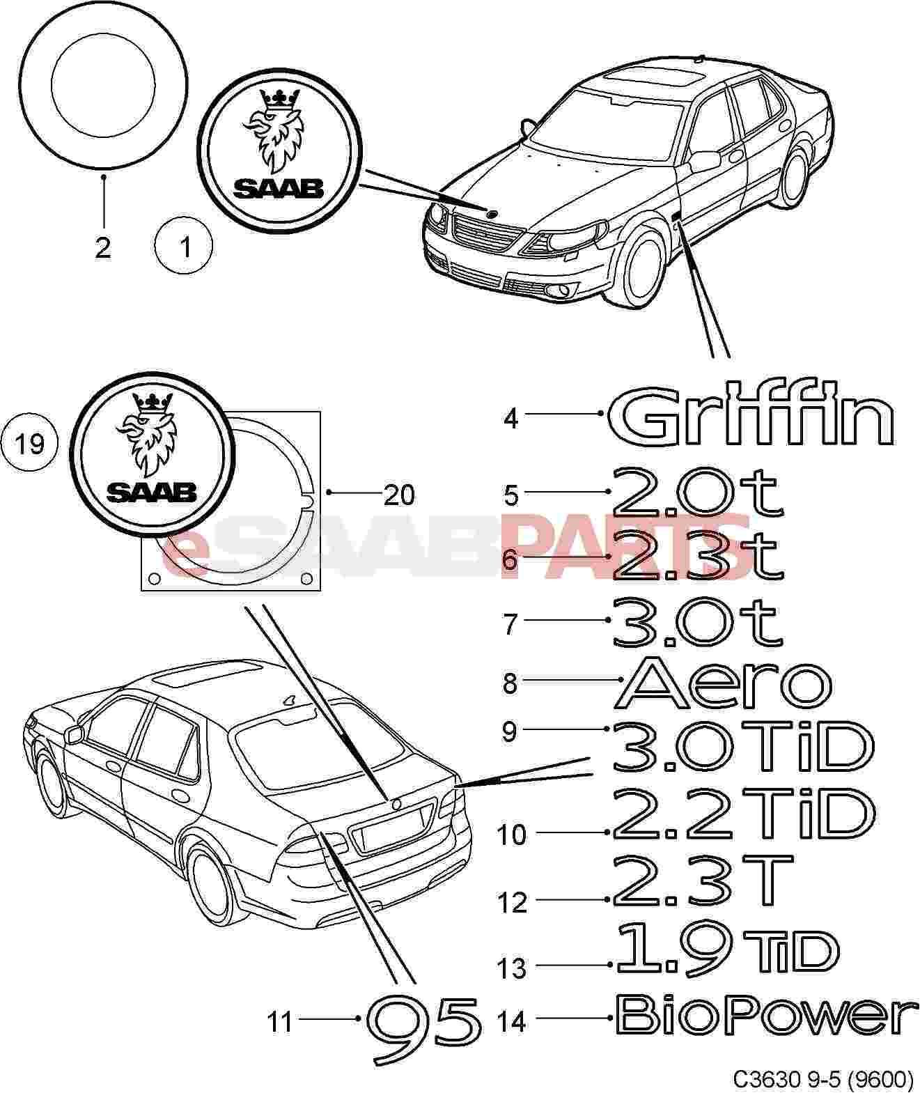 Saab Aero Trunk Emblem Badge 9 5 5d 02 09 9