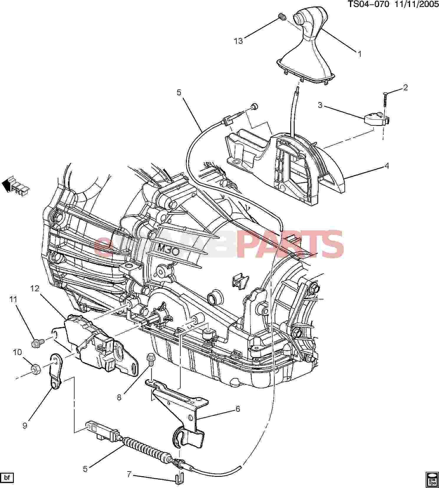 Saab Retainer A Trns Range Sel Lvr Cbl