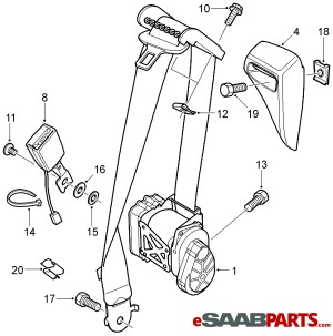 [93185370] SAAB Seat Belt  Driver LH Convertible (Manual