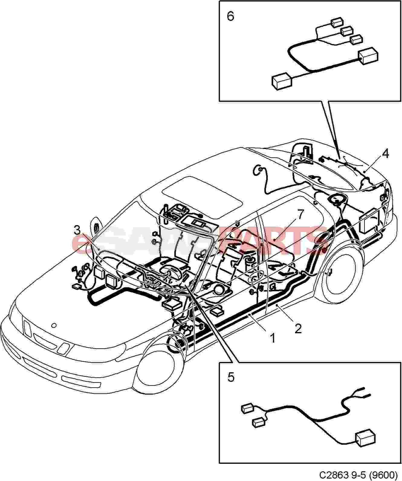 Esaabparts saab 9 5 9600 > electrical parts > wiring harness > rear