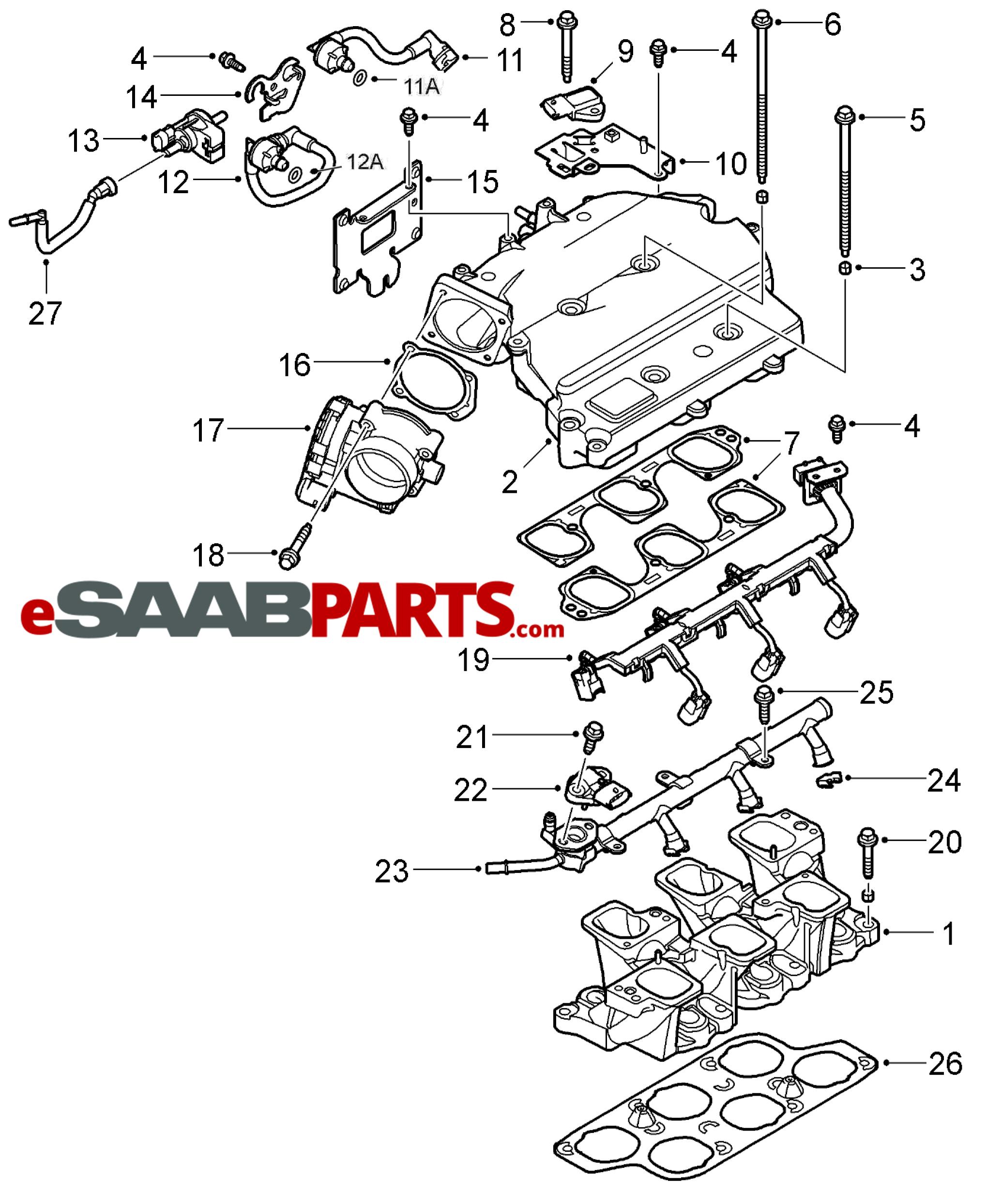Saab Evap Purge Valve 2 8t V6 Rear Of Intake