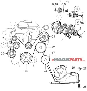 [4898755] SAAB Belt Tensioner  Genuine Saab Parts from