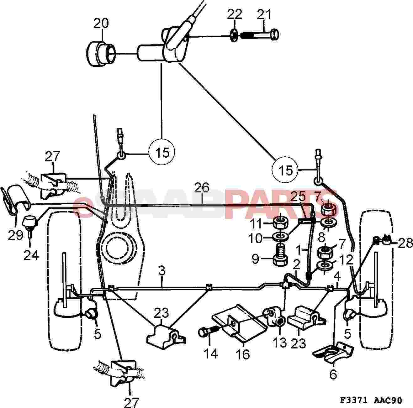 Saab 900 Diagram Showing Brake Line