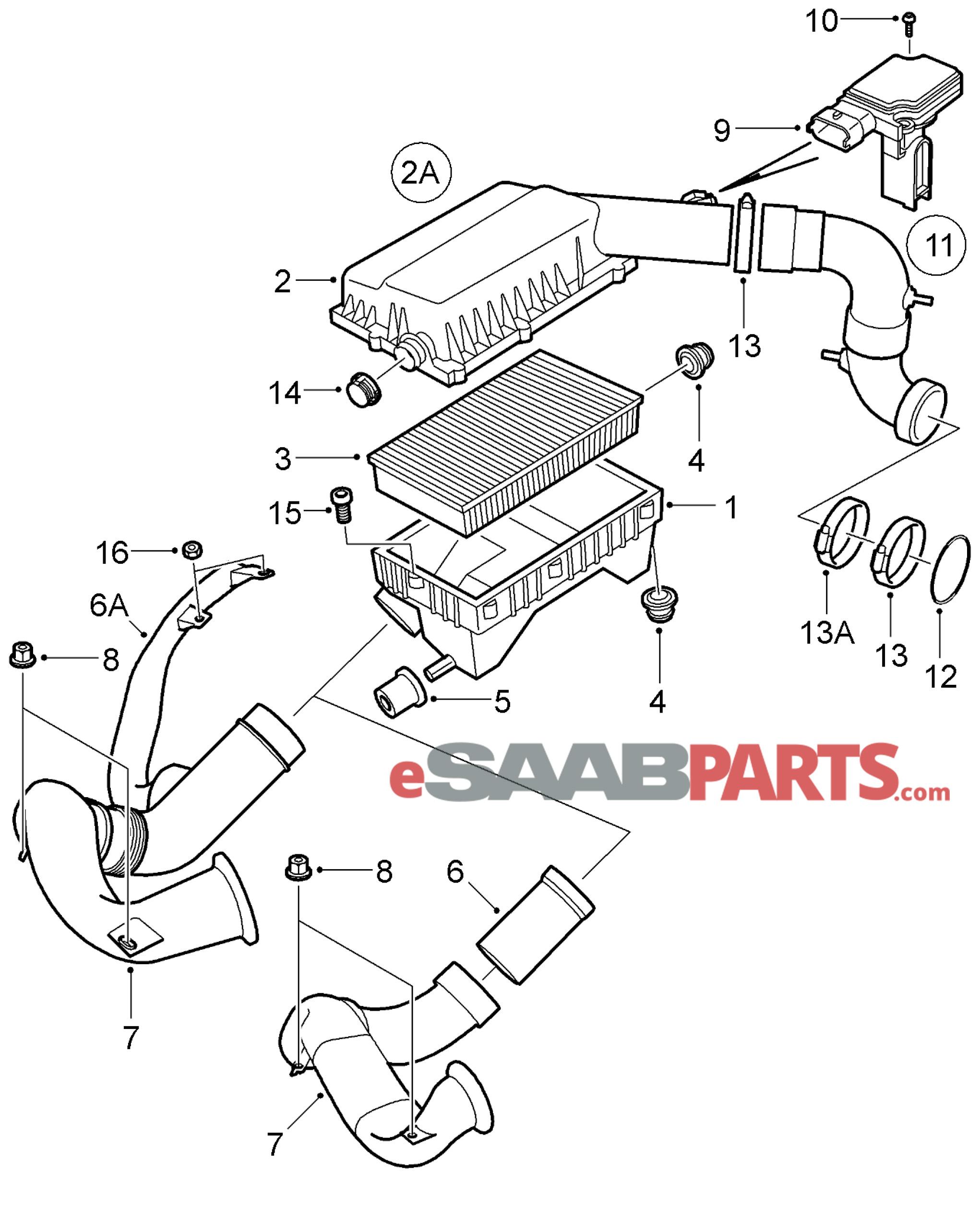 12788131 saab mass air flow sensor genuine saab parts from rh esaabparts saab oem parts diagram saab 900 parts diagram