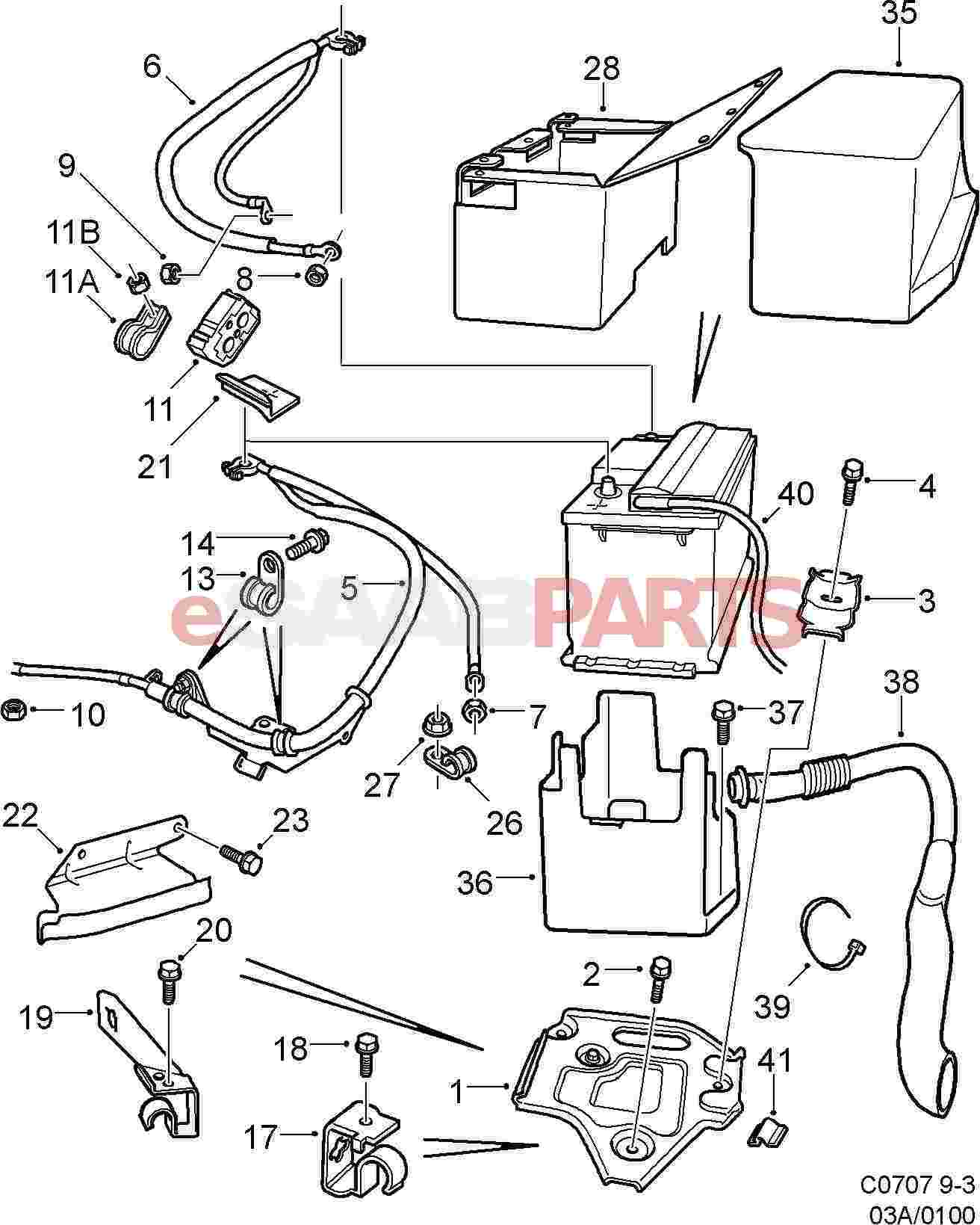 Saab Battery Cable