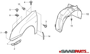 [12797541] SAAB Front Fender RH 0307  Genuine Saab Parts