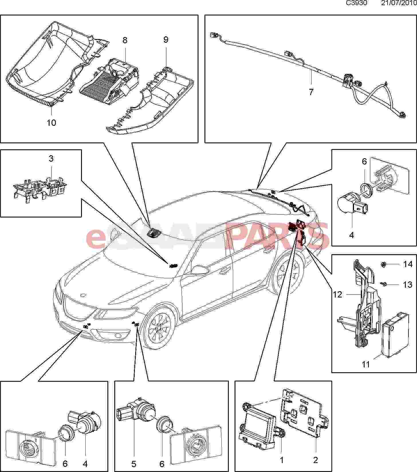 2011 Saab 9 5 Engine Parts Diagram