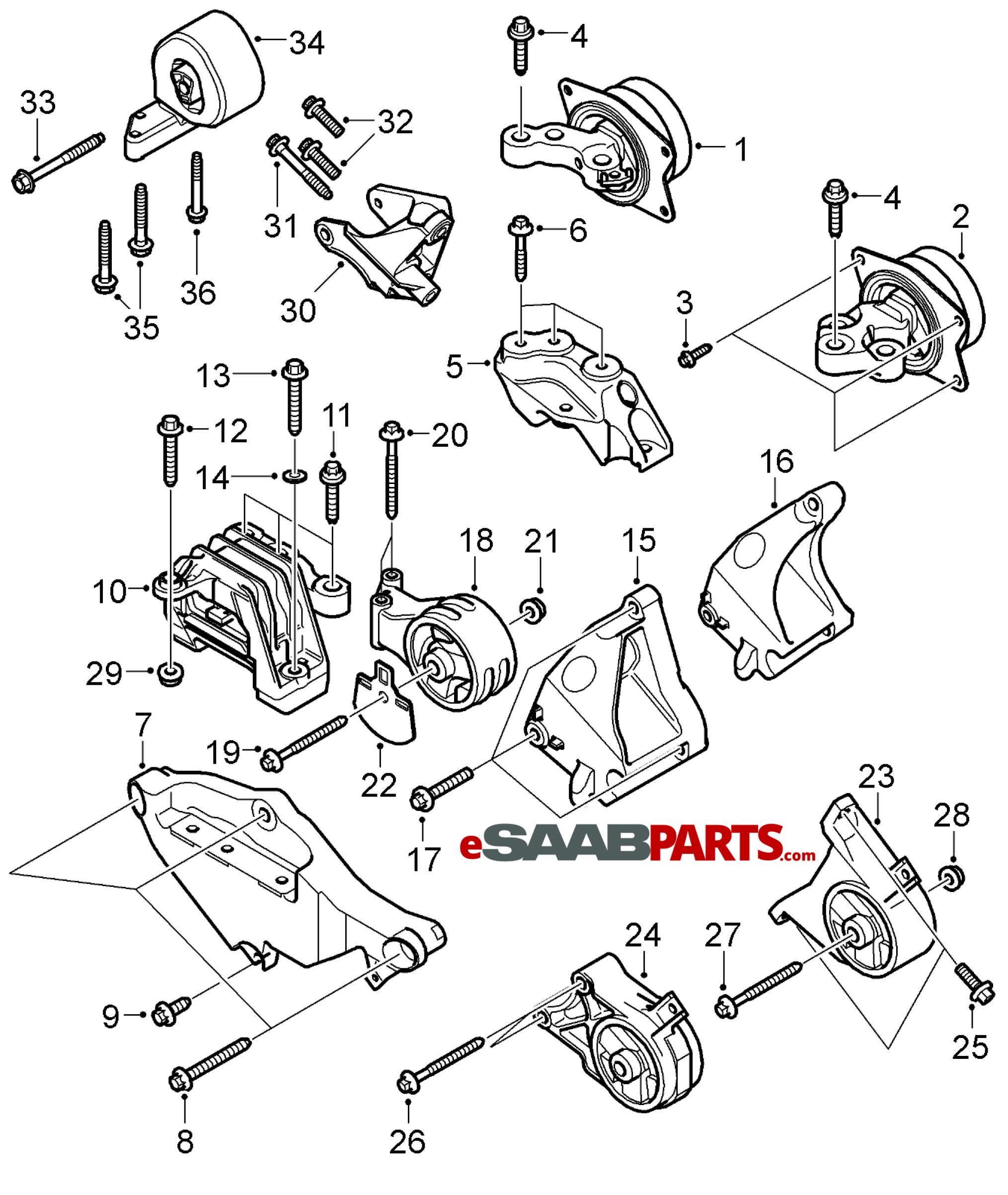 Saab Engine Mount Attachment Bracket Lh W Xwd For 9 3 V6 B284