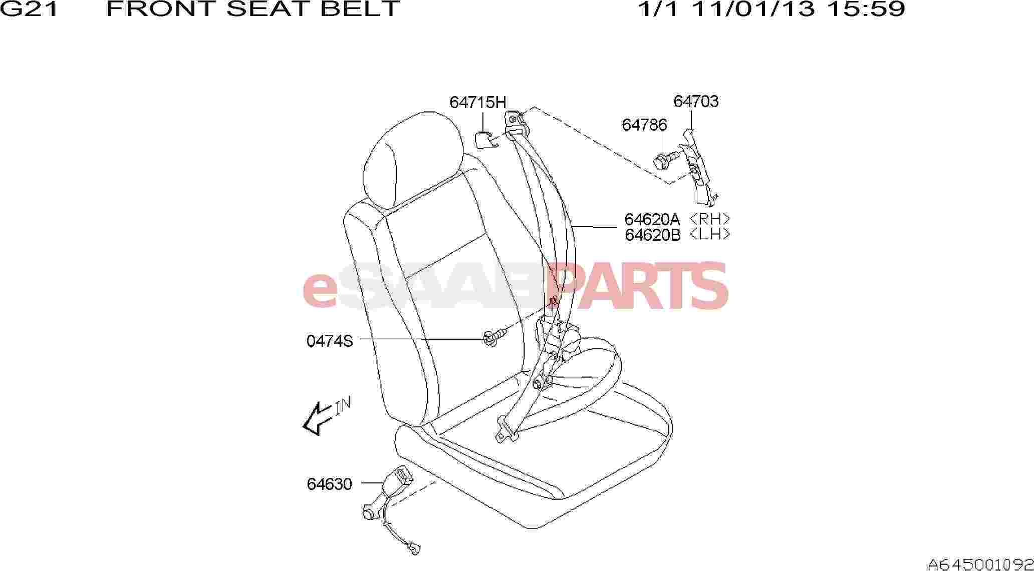 Saab Seat Belt Outer Front Right