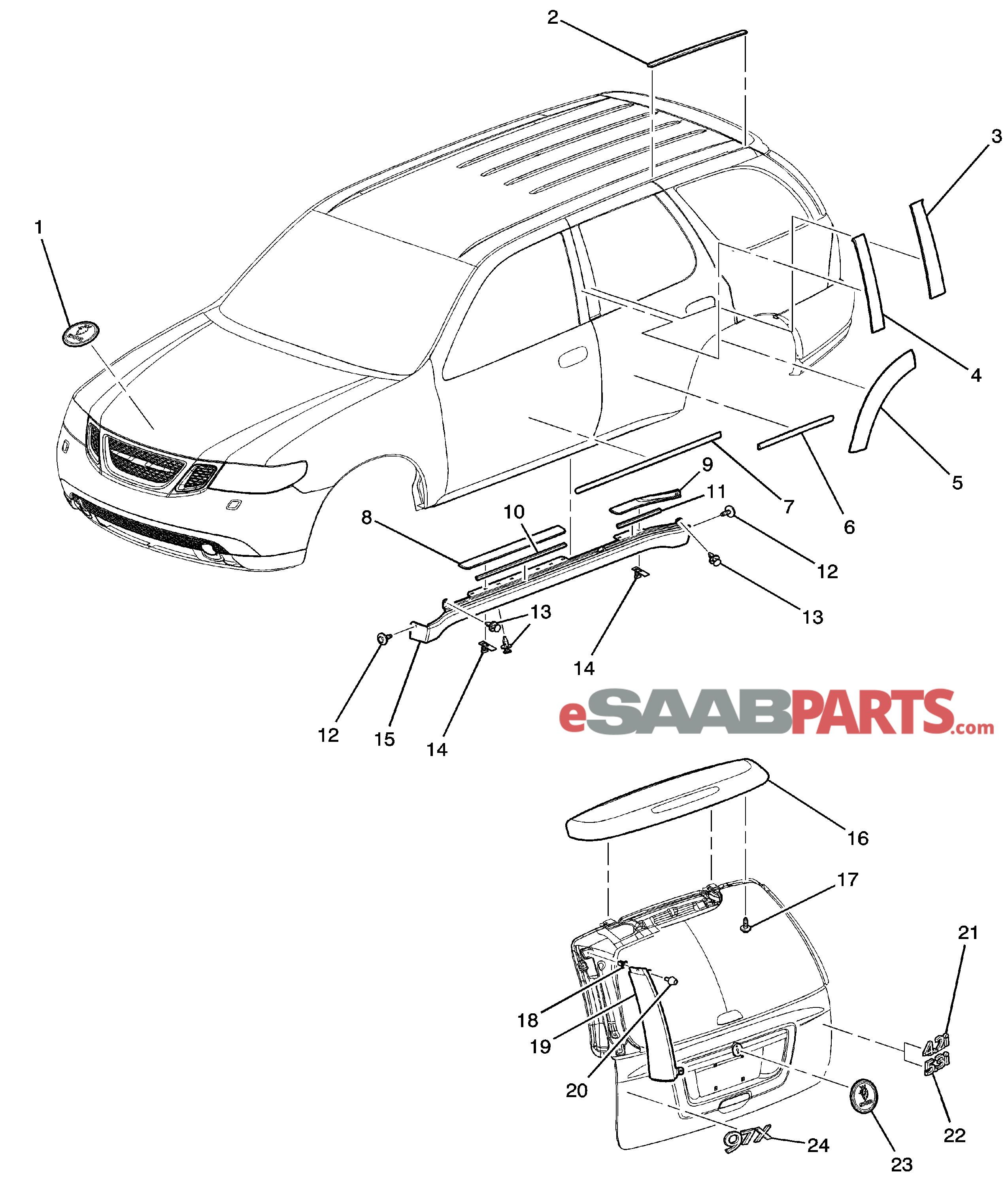 Saab Plate Lift Gate Veh Natural