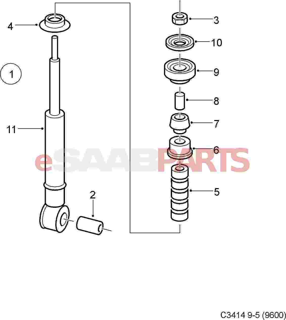 Saab Rear Shock Absorber