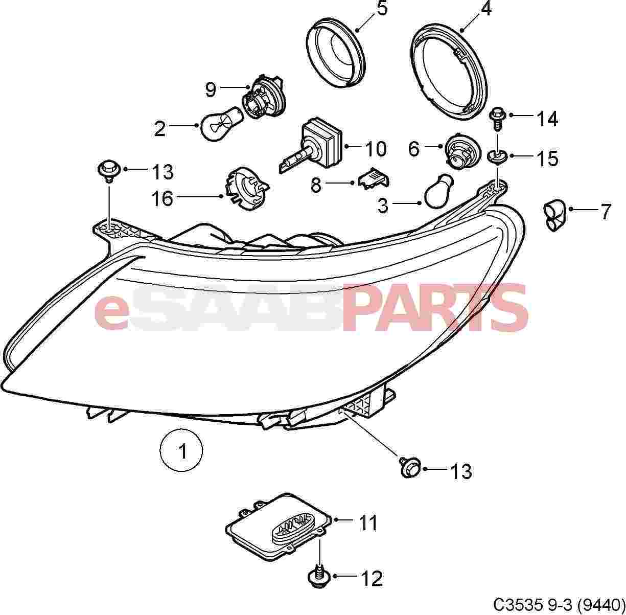 Saab Bulb Socket Retaining Ring Xenon
