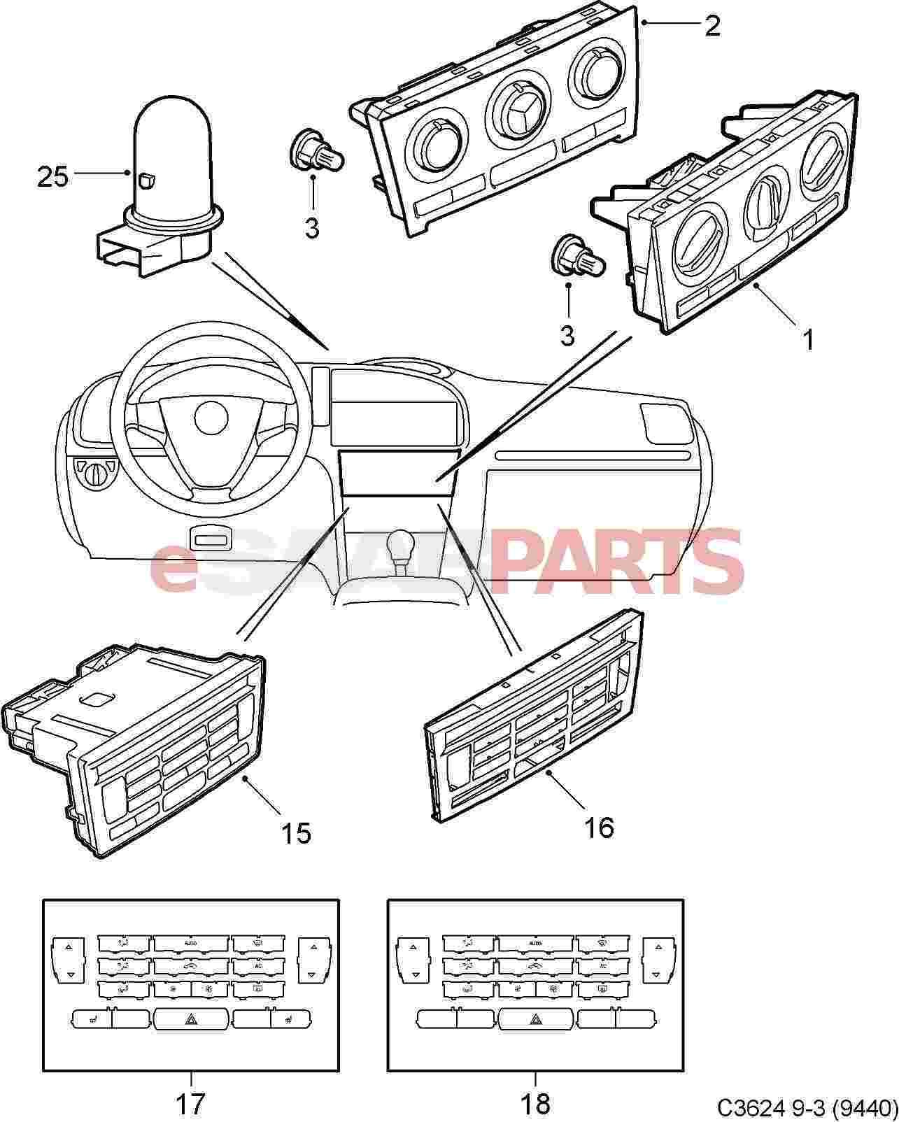 Saab Button Kit