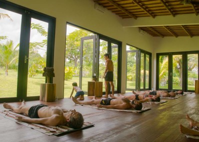 Savasana ~ Jeda Villa, Bali ~ April 2017</br> This yoga room combines perfect heat with natural humidity and opens up onto lush, ornate gardens. This is the best retreat practice space ever.