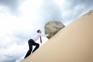 Ilustrações Cristãs: Empurre a rocha com toda sua força!