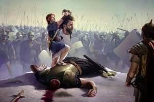 O gigante Golias morreu por uma pedrada ou pela espada já que o texto diz os dois?