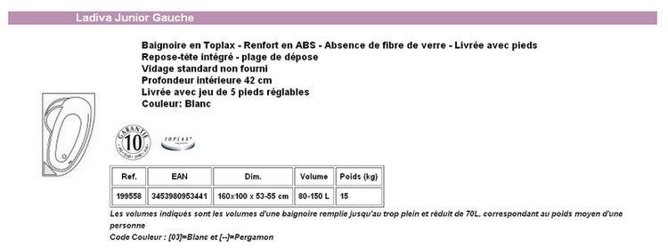 Baignoire LADIVA Aquarine Junior 160x100 Gauche Sans Tablier