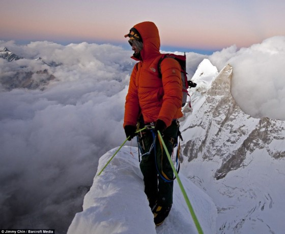 Renan Ozturk contemplates the long descent after making the summit on Mount Meru, India
