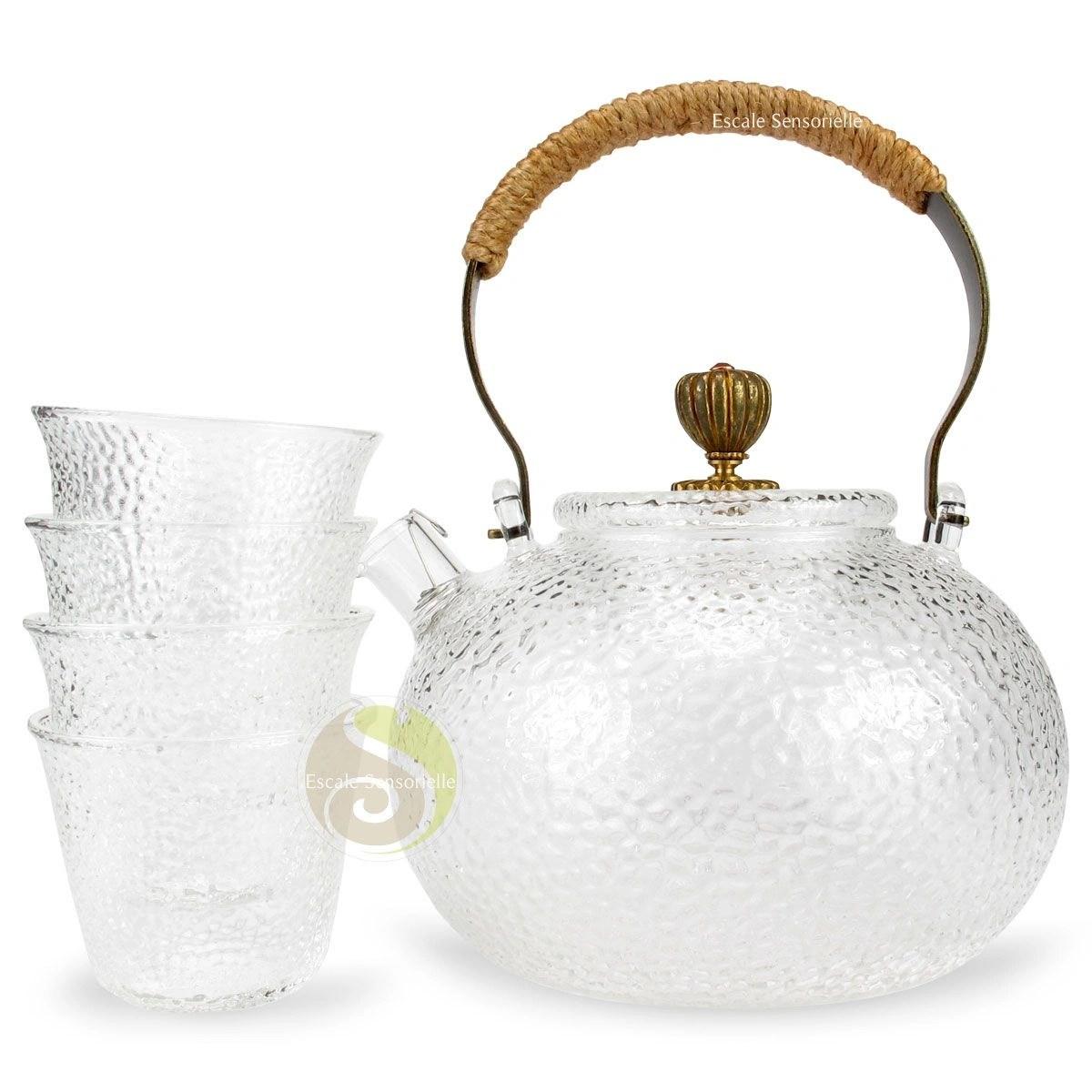 set theiere et 4 tasses en verre