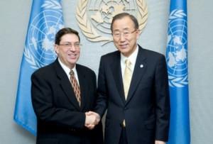 Ban Ki-moon destacó la importante contribución de Cuba a los esfuerzos de paz en Colombia y el cumplimiento de los Objetivos de Desarrollo del Milenio.(foto: Internet)