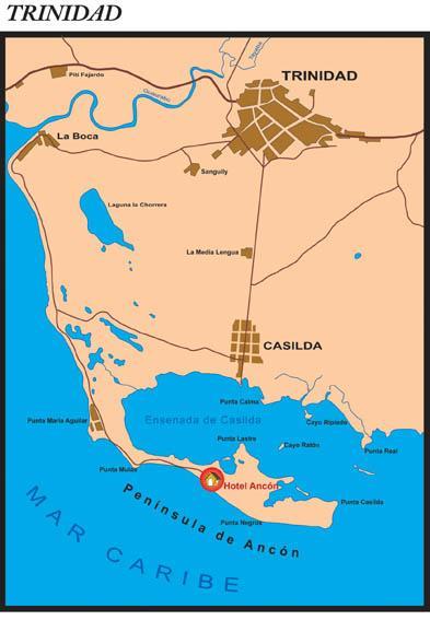 Mapa de la península de Ancón, en las cercanías de Trinidad.