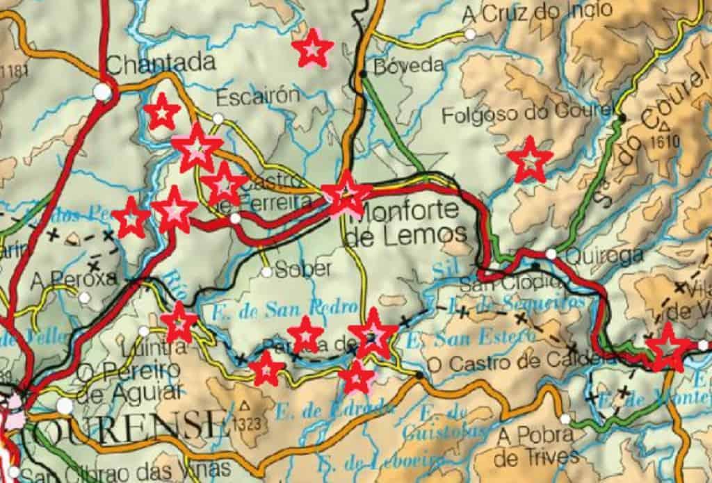 que ver en la Ribeira Sacra mapa