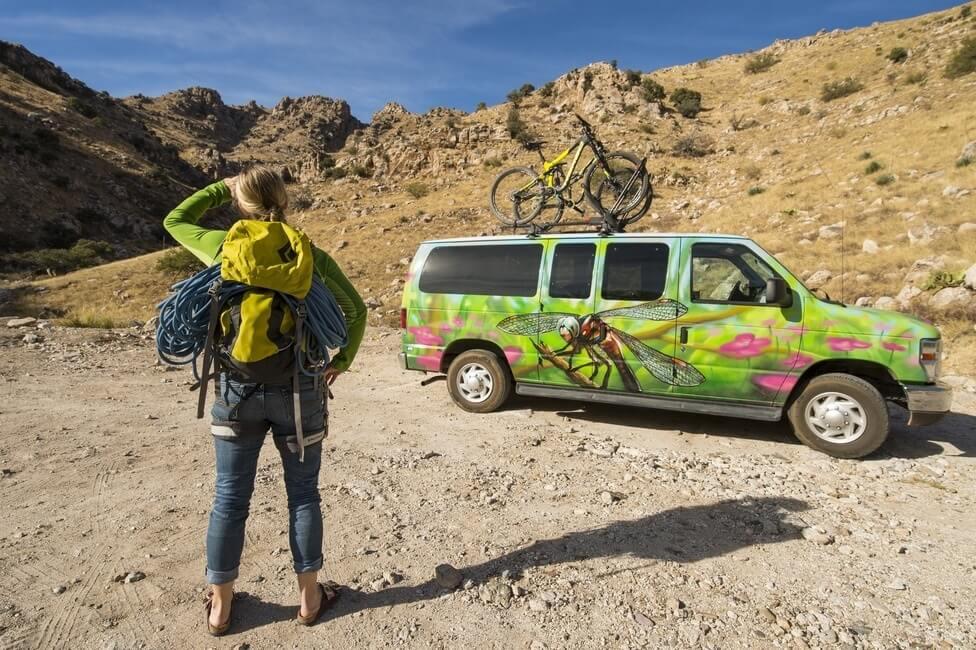 Rock climbing and mountain biking gear campervan trip