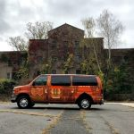 Campervan in front of NY haunted house