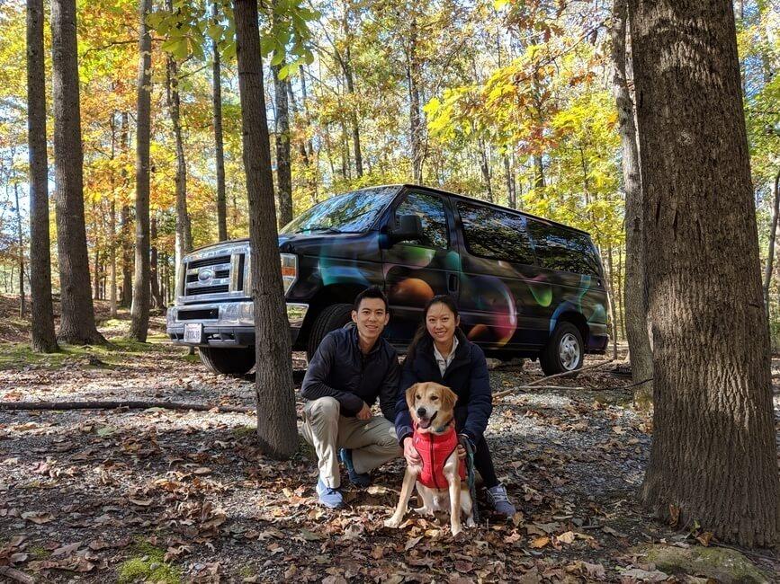 Campervan campsite in Maryland