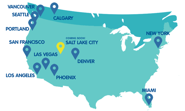 Map of locations in the United States and Canada.