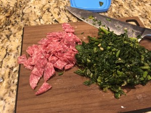 Chop, chop - leftovers ready to add to the pasta.