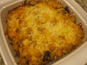Cheesy chicken casserole goodness #2.  Chicken goes a lot further in a casserole!
