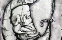 Celestial Splendor; graphite, ink & glitter on paper; 12″ x 14.5″ in 16″ x 20″ frame