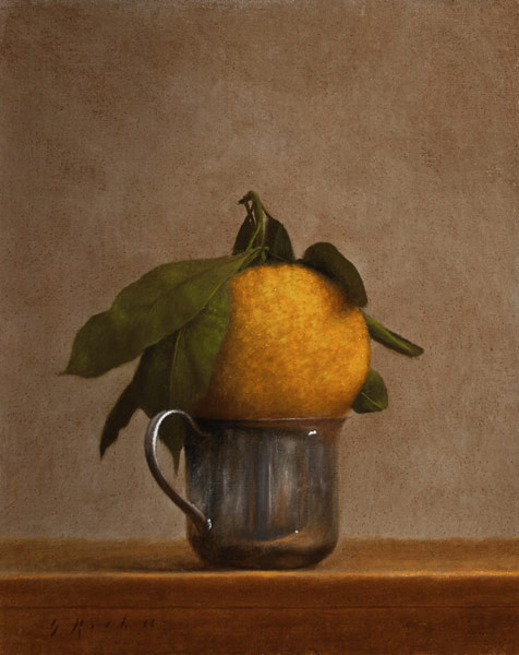 Tangerine in a Silver Cup, 8 x 10 inches, 2012