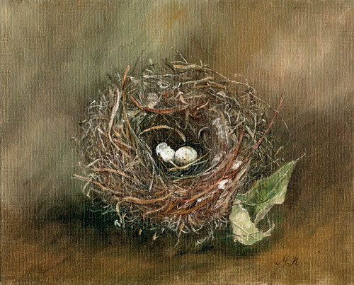 Maryjo Koch, Dark Eyed Junco Nest with Dry Leaf