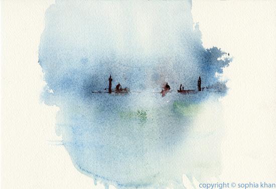 No2_Venice_Arrival_watercolor_copyright_sophia_khan