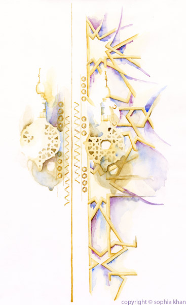 No5_Royal_Palace_Doors_Fez_III_watercolor_copyright_sophia_khan