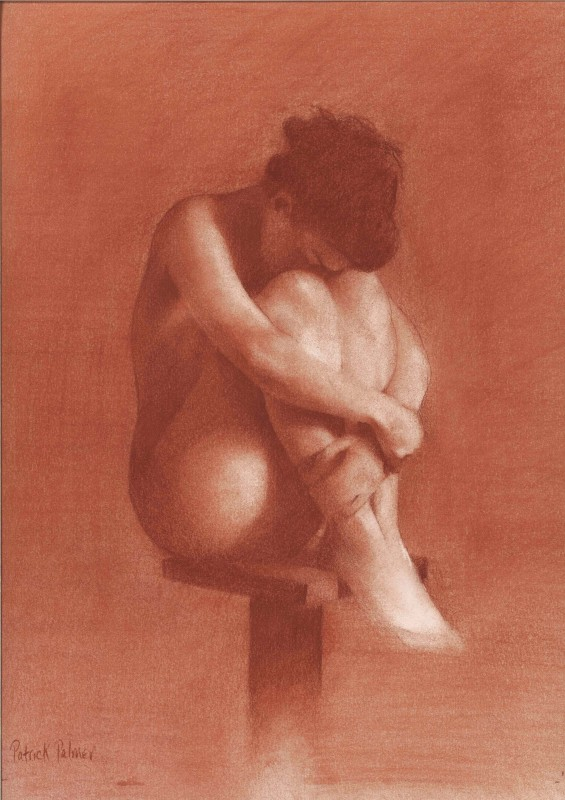 Girl on stool, 2013. Red Chalk, A3. Original sold but Giclees available.