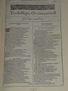 Twelfth Night, first folio page
