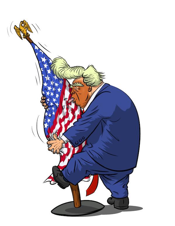 Cartoon by Phil Maish: Donald Trump lovin' the flag