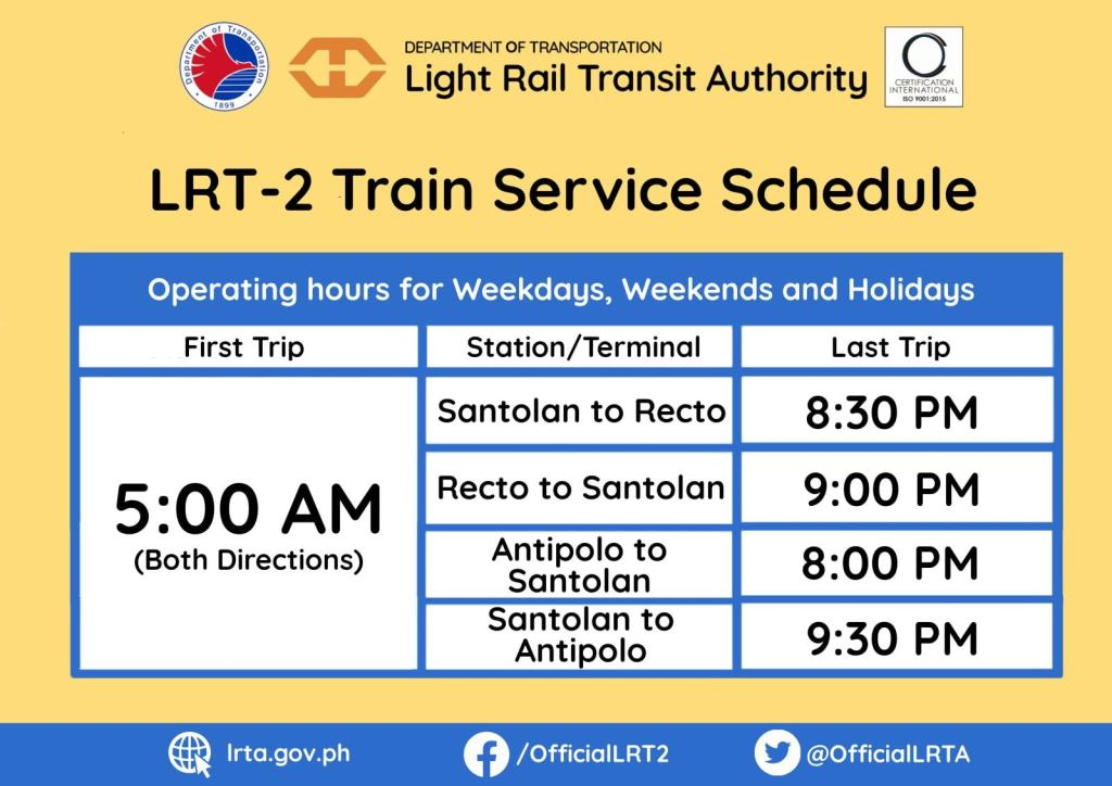 LRT 2 Schedule / Operating Hours