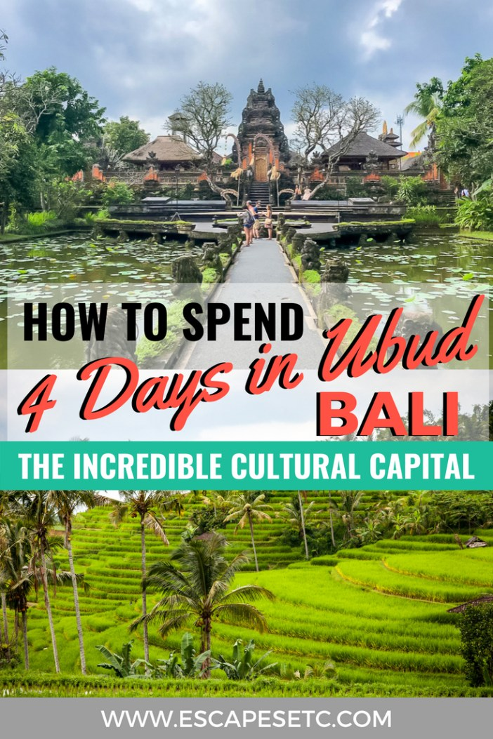 Planning a trip to Ubud? This spot is Bali's cultural capital and somewhere you can't miss out on. Here's my guide to spending 4 days in Ubud. #ubud #bali #baliguide #4daysinubud #indonesia