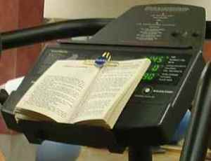 Favorite Place to Read – On the elliptical machine. Multitasking!
