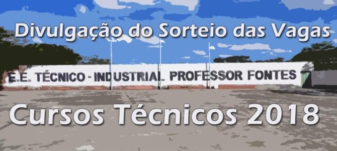 Divulgação do Sorteio das Vagas para os Cursos Técnicos 2018(INSCRIÇÕES ENCERRADAS!!)