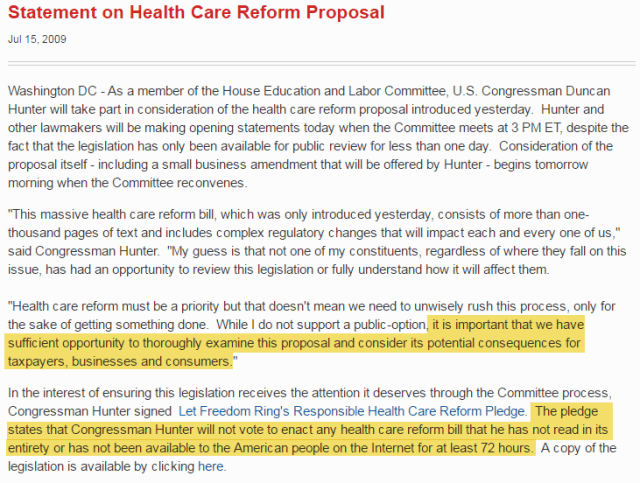 Rep. Hunter's Statement on Health Care Reform Proposal