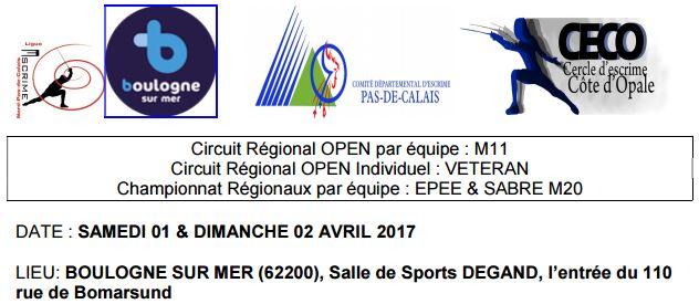 2 avril 2017 à Boulogne sur Mer : M20 sabre en équipe …. 3ème place ….. sur 3.
